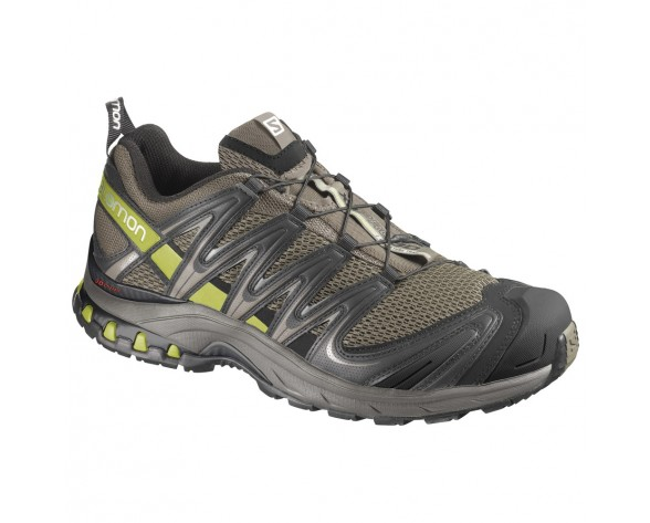 Chaussure Salomon XA PRO 3D M+ pour Homme Gris/Vert-jaunâtre/Noir Chaussures De Running 359380