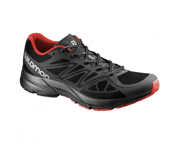 Chaussure Salomon SONIC AERO pour Homme Anthracite/Rouge Chaussures De Running 381534