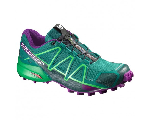 Chaussure Salomon SPEEDCROSS 4 W pour Femme Cyan-foncé/Violet Chaussures De Running 383100
