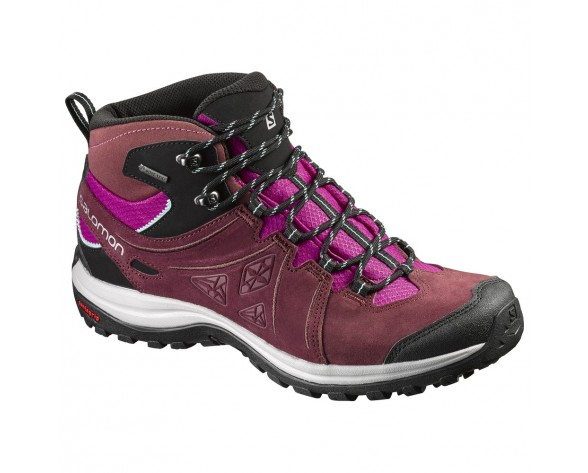 Chaussure Salomon ELLIPSE 2 MID LTR GTX® W pour Femme Noir/Rose/Bordeaux Chaussures De Randonnée 390447