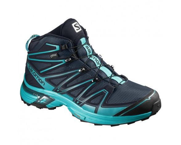Chaussure Salomon X-CHASE MID GTX® W pour Femme Marine/Turquoise Chaussures De Randonnée 391835