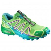 Chaussure Salomon SPEEDCROSS 4 CS W pour Femme Vert/Bleu/Violet Chaussures De Running 383095