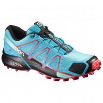 Chaussure Salomon SPEEDCROSS 4 W pour Femme Rouge/Noir/Aqua Chaussures De Running 383102