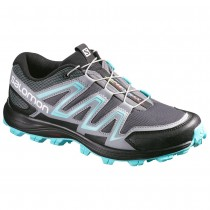 Chaussure Salomon SPEEDTRAK W pour Femme Gris/Noir/Turquoise Chaussures De Running 390630