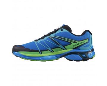 Chaussure Salomon WINGS PRO 2 pour Homme Bleu/Citron-Vert/Noir Chaussures De Running 379084