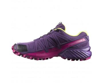 Chaussure Salomon SPEEDCROSS 4 W pour Femme Violet/Jaune/Rouge Chaussures De Running 383103