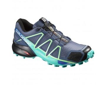 Chaussure Salomon SPEEDCROSS 4 W pour Femme Noir/Bleu-foncé/Vert Chaussures De Running 383104