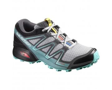 Chaussure Salomon SPEEDCROSS VARIO W pour Femme Gris/Noir/Turquoise Chaussures De Running 383107