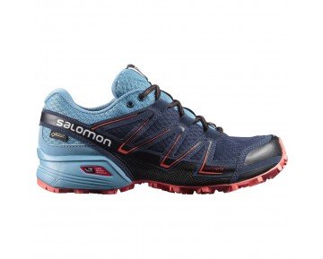 Chaussure Salomon SPEEDCROSS VARIO GTX® W pour Femme Cyan/Bleu-foncé/Noir/Orange Chaussures De Running 390544
