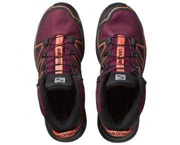 Chaussure Salomon X-CHASE MID CS WP W pour Femme Bordeaux/Rose/Noir Chaussures De Randonnée 391831