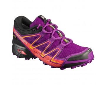Chaussure Salomon SPEEDCROSS VARIO GTX® W pour Femme Violet/Orange/Noir Chaussures De Running 394061